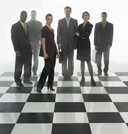 Business people on tiled floor.