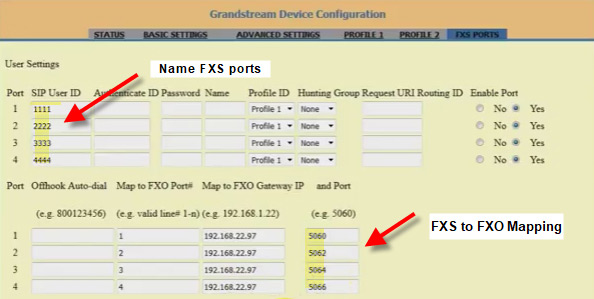 Screenshot showing mapping of FXS ports to FXO on Grandstream.