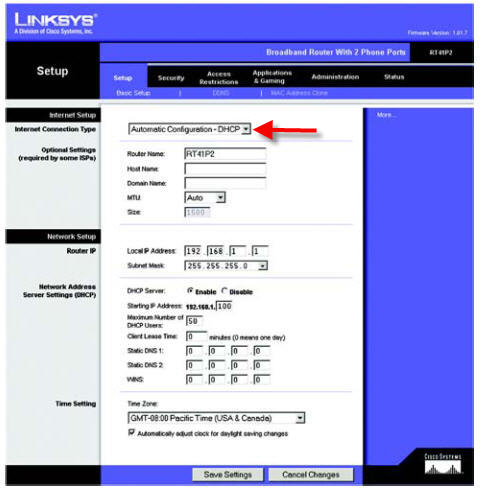 How to configure PPPoE on a Linksys RT41P2 ATA/router for VoIP